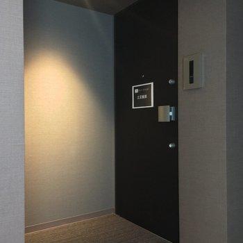 共用部は静かな屋内タイプ。エレベーターのスグ横です