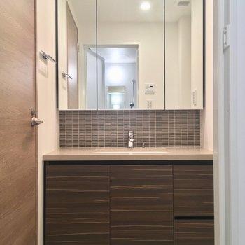 洗面台。とても立派です※写真は5階の反転に似た間取り別部屋のものです