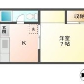 キッチンスペースをしっかりわけられる1Kタイプ。