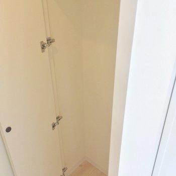 玄関横に、収納を発見!掃除機とか、いいかも