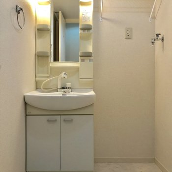 独立洗面台と洗濯機置き場は隣り合わせ