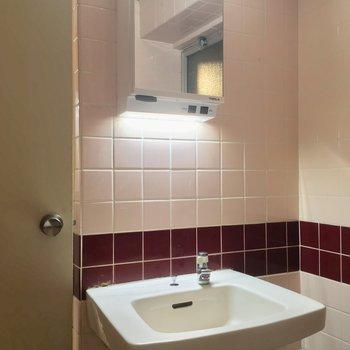 バスルームの照明はなんとこの洗面台のみ・・・