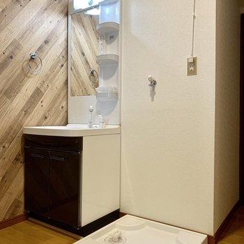 向かいに洗面台と洗濯機置き場