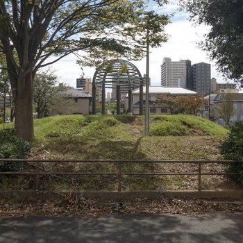 駅へ向かう途中には公園があります。
