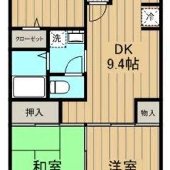 バルコニー付の3DKのお部屋。