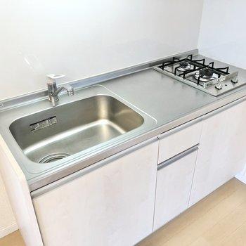 キッチンは2口コンロ。調理スペースもシンクもゆったり。
