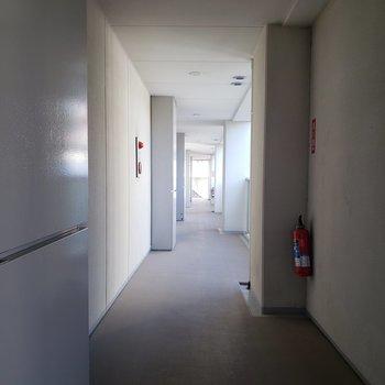 綺麗な共用廊下ですね。
