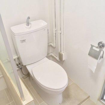 トイレも同じ空間に。ガラスで仕切られていますが、別途シャワーカーテンを設置しても◎