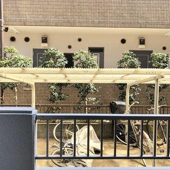 バルコニーの眺望。前のマンションの方と目が合いそうかな。