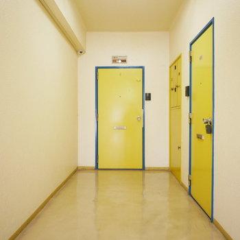 共用部はレトロな雰囲気。このマスタードの玄関扉が個性的!