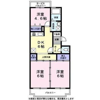 最上階3DKのお部屋です。