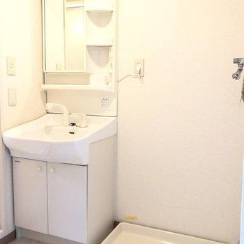 独立洗面台と洗濯機置き場です。