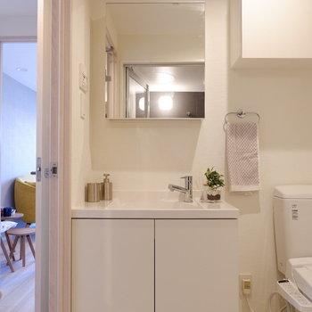 洗面台は鏡部分が収納になっています。※写真は7階の同間取り別部屋のものです。