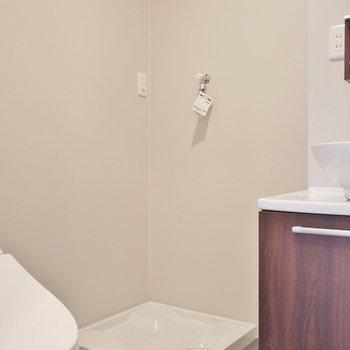 洗濯機はこちらに。※写真は301号室のもの
