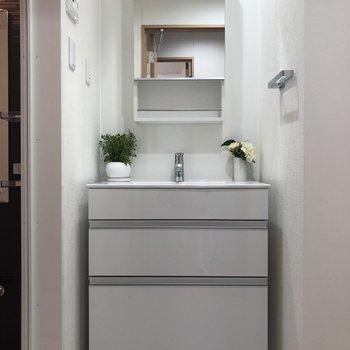 嬉しい独立洗面台。※写真は2階同間取り別部屋のものです