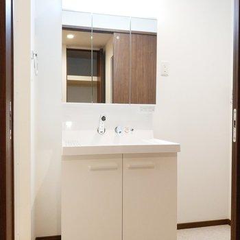 サニタリールームは独立洗面台がお出迎え。