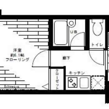キッチンと分かれた1Kのお部屋。