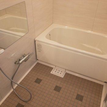 洗い場スペースが非常に広い。2人でもゆったりできそう