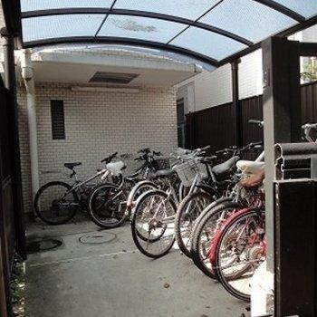 駐輪場にも屋根ついてる!
