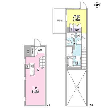 メゾネットタイプのお部屋。