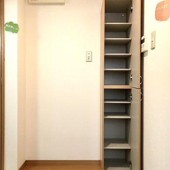 だけどシューズBOXもけっこう入る!隣は冷蔵庫スペースです。
