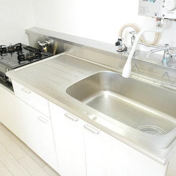 瞬間湯沸かし器がレトロだけどシンクはきれいです!