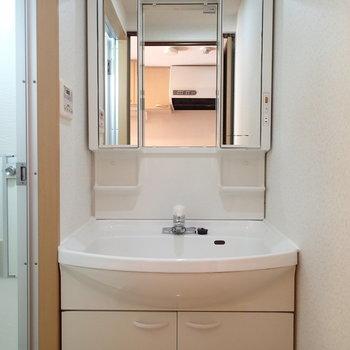 洗面台はこちら、曇りどめヒーターあるタイプです!※写真は2階の同間取り別部屋