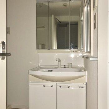 鏡の大きな洗面台が出迎えてくれました。※写真はフラッシュを使用しています