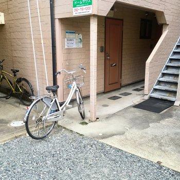 自転車は・・・ここにおけるかなぁ?