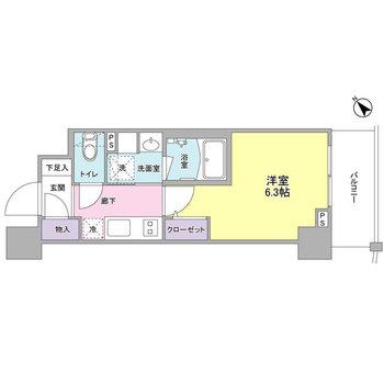 シンプルな1Kのお部屋。1人暮らしにぴったりですね。