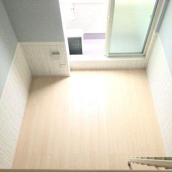 ロフトから居室を見下ろすと・・・結構高さがありますよ〜!