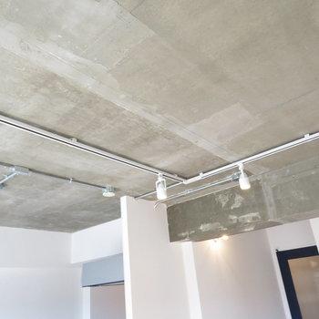天井にはがっつりライティングレール