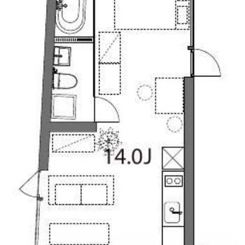 14帖の広いワンルーム。点線は家具の配置例です。