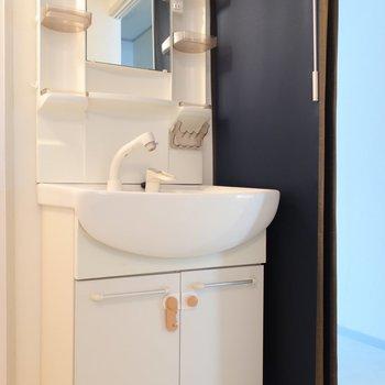 洗面は程よいサイズ感ですね。小物トレイもしっかりあるのでスキンケア用品なども置けますよ。