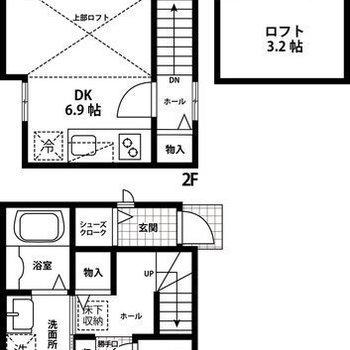居室と水回りがしっかり分かれた2階建て!