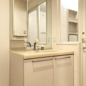 洗面台は鏡が2枚も。