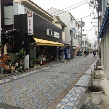鵠沼海岸駅の周辺は素朴な雰囲気。お花屋さんや酒屋さんが見えます。
