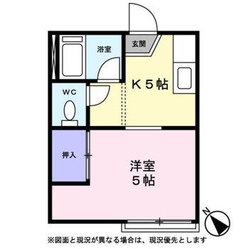 洋室とキッチン、同じ広さの間取りです