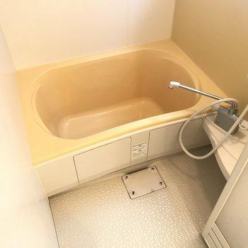 お風呂は少し小さめかな。ここでも洗濯物が干せるようポール付き