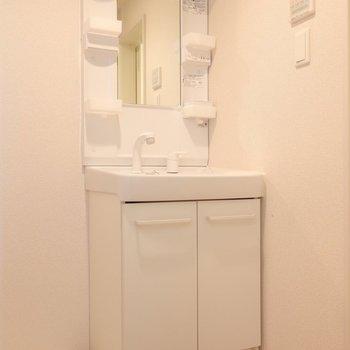 洗面台は普通のサイズ感ながら小物トレイもしっかりついているのが嬉しい。