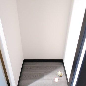 洗濯パンは玄関に。扉付きで隠せますよ。