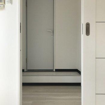 キッチン側と反対側に脱衣所です。右手に収納、左手に洗濯機置き場。正面にバスルームです。