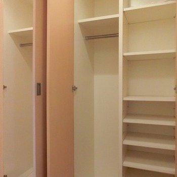 こちらは玄関横の収納※写真は反転間取り別部屋のものです。