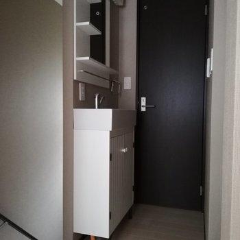 洗面台は廊下に※写真は通電前のものです