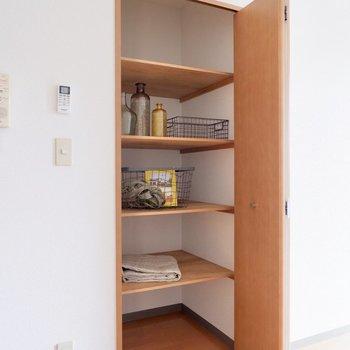 【LDK】リビングにも収納があります。キッチン近くなので食料庫としても良いですね。
