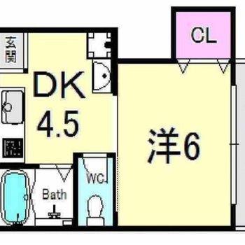 洋室は6帖と普通サイズ!