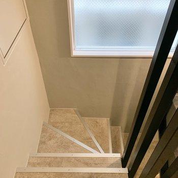 3階までは階段を上がります。