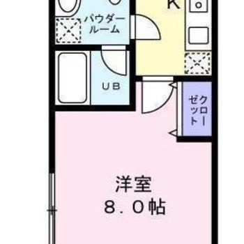 角部屋の1Kのお部屋になります。