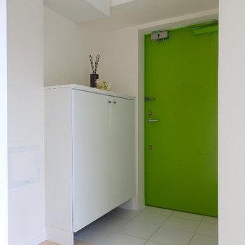 玄関扉もグリーン※写真は同じ間取りの別部屋です。