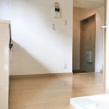 居室からみて左にキッチン、右に洗濯機置き場とサニタリーがあります。
